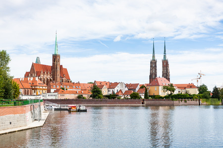 travel to Poland - view of Cathedrals and Ostrow Tumski island of Oder River in Wroclaw city in september Stock Photo