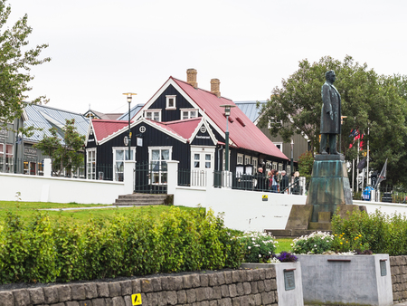REYKJAVIC, ICELAND - SEPTEMBER 5, 2017: statue of Hannes Hafstein, he became the first minister of country from 1904, on Laekjargata street in Reykjavik in autumn, by sculptor Einar Jonsson in 1931