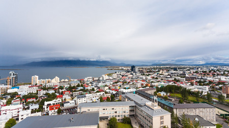 travel to Iceland - aerial view of Reykjavik city and Atlantic ocean coast from Hallgrimskirkja church in autumn Stock Photo