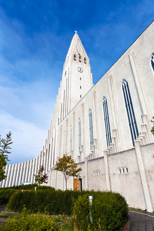 travel to Iceland - side view of Hallgrimskirkja Church in Reykjavik city in september Stock Photo