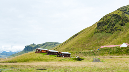 travel to Iceland - wooden houses in Vik I Myrdal village on Atlantic South Coast in Katla Geopark in autumn