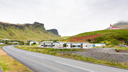 travel to Iceland - Thjodvegur road in Vik I Myrdal village on Atlantic South Coast in Katla Geopark in september Stok Fotoğraf - 90597747