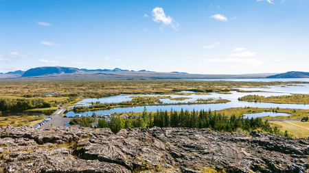 travel to Iceland - above view of valley in Thingvellir national park in september