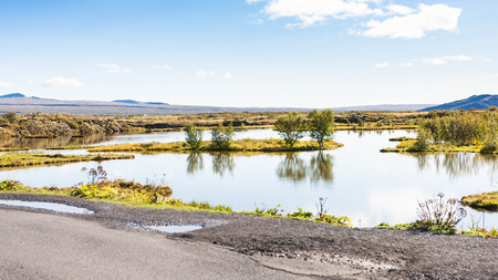 travel to Iceland - swamp in rift valley in Thingvellir national park in september