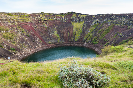travel to Iceland - old volcanic crater with Kerith lake in september