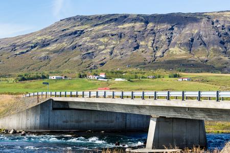 travel to Iceland - view of bridge over Bruara river at Laugarvatnsvegur road in autumn