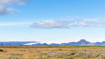 travel to Iceland - blue sky over icelandic landscape near Biskupstungnabraut road near Gullfoss waterfall in autumn