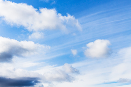 travel to Iceland - white clouds in blue sky in Iceland in september day