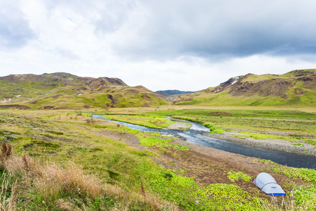 travel to Iceland - tourist tent in valley of Varma river in Hveragerdi Hot Spring River Trail area in september Stock Photo