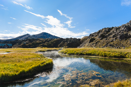 travel to Iceland - warm river in Landmannalaugar area of Fjallabak Nature Reserve in Highlands region of Iceland in september Stock Photo
