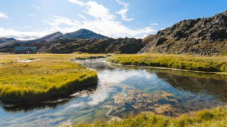 travel to Iceland - hot river in Landmannalaugar area of Fjallabak Nature Reserve in Highlands region of Iceland in september