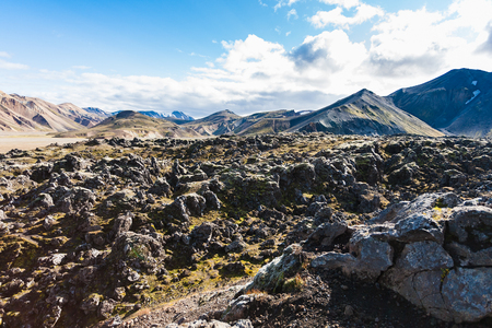 travel to Iceland - surface of Laugahraun volcanic lava field in Landmannalaugar area of Fjallabak Nature Reserve in Highlands region of Iceland in september Stock Photo