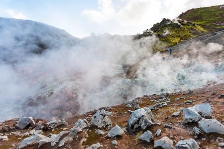 travel to Iceland - hot springs in Landmannalaugar area of Fjallabak Nature Reserve in Highlands region of Iceland in september Stock Photo