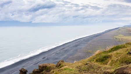 travel to Iceland - above view of Solheimafjara beach from Dyrholaey peninsula near Vik I Myrdal village on Atlantic South Coast in Katla Geopark in september