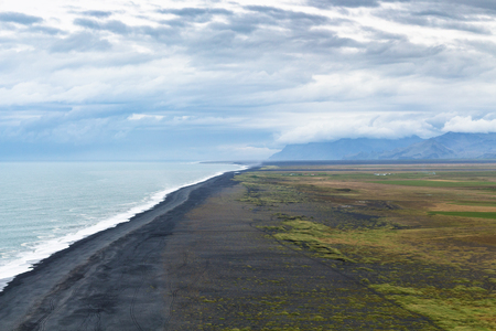 travel to Iceland - above view of Solheimafjara beach from Dyrholaey promontory near Vik I Myrdal village on Atlantic South Coast in Katla Geopark in september Stok Fotoğraf