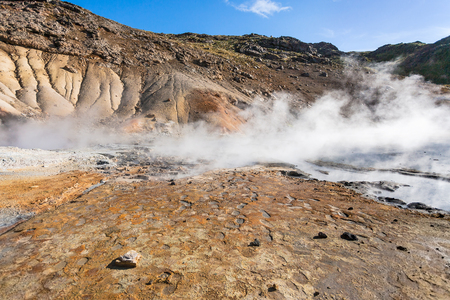 travel to Iceland - geysers in geothermal Krysuvik area on Southern Peninsula (Reykjanesskagi, Reykjanes Peninsula) in september