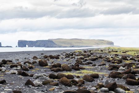 travel to Iceland - boulders on Reynisfjara black beach in Iceland, near Vik I Myrdal village on Atlantic South Coast in Katla Geopark in september Stok Fotoğraf