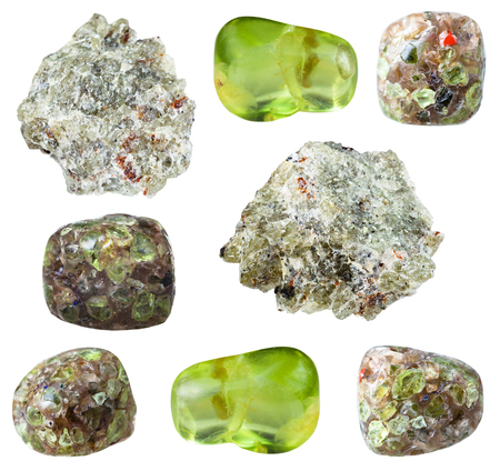 collection of natural mineral specimens - various Peridot (Chrysolite, Olivine) gem stones isolated on white background Stockfoto
