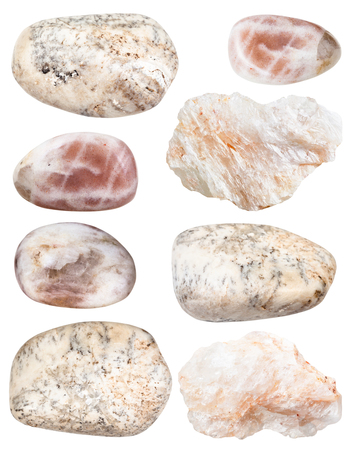 collection of natural mineral specimens - various albite gem stones isolated on white background