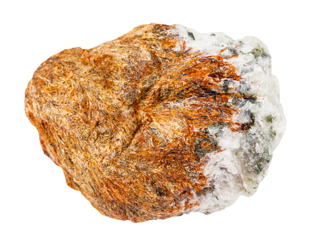 macro shooting of natural mineral rock specimen - raw normandite stone isolated on white background from Khibiny Mountains, Kola Peninsula, Russia