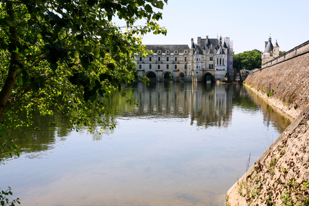 CHENONCEAUX, FRANCE - JULY 8, 2010: view of Chateau de Chenonceau on canal of Cher river. The current palace was built in Indre-et-Loire departement of Loire Valley in 1514-1522 Editorial