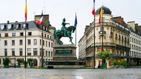 ORLEANS, FRANCE - JULY 9, 2010: view of square Place du Martroi with monument of Jeanne d'Arc in Orleans city. Orleans is the capital of the Loiret department and of the Centre-Val de Loire region Editoriali