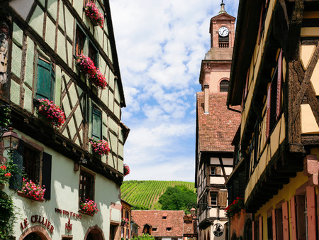 RIQUEWIHR, FRANCE - JULY 11, 2010: houses and vineyards of Riquewihr city. Riquewihr is commune in Alsace Wine Route region, the town belongs to the association The most beautiful villages of France Editorial