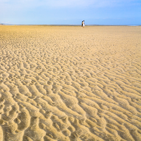 travel to France - dune on yellow sand beach Le Touquet (Le Touquet-Paris-Plage) on coast of English Channel Stock Photo