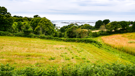 Harvested field on Launay bay of Atlantic coast in Ploubazlanec commune of Paimpol region in Cotes-dArmor department of Brittany in summer eveining