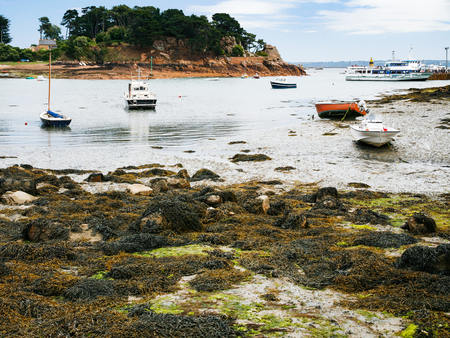 travel to France - ships in Port-Clos harbour of Ile-de-Brehat island in Cotes-dArmor department of Brittany in during low tide in summer