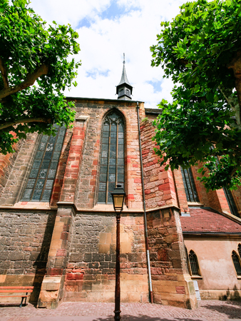 travel to France - side view of Dominican church (Eglise des Dominicains) from street Rue des Serruriers in Colmar city