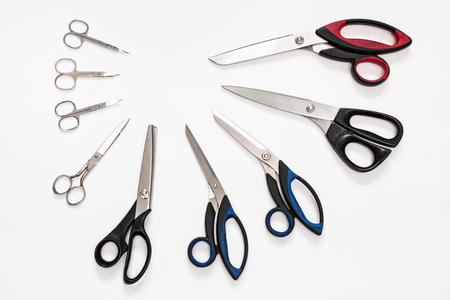 top view of semicircle from various shears on white background Banque d'images
