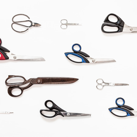 ornament from various shears on white background