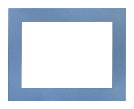 wide flat blue passe-partout for picture frame with cut out canvas isolated on white background Stock Photo