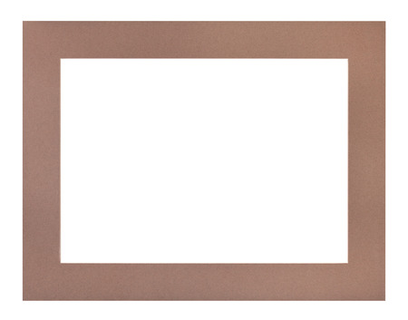 wide flat brown passe-partout for picture frame with cut out canvas isolated on white background