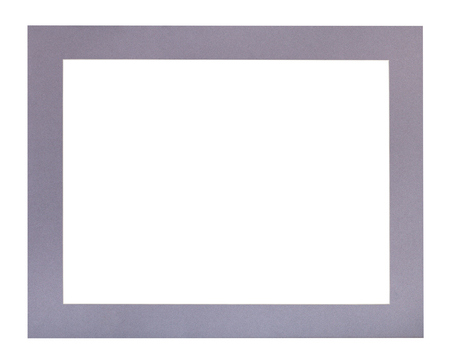wide flat violet passe-partout for picture frame with cut out canvas isolated on white background Stock Photo
