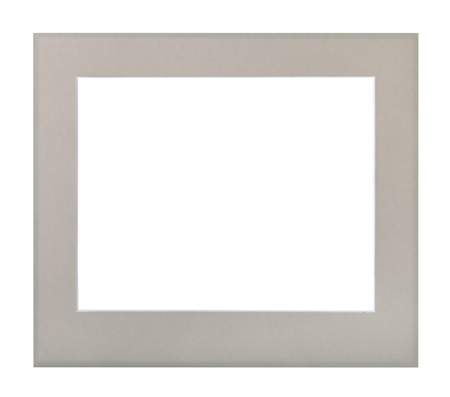 wide flat gray passe-partout for picture frame with cut out canvas isolated on white background Stock Photo