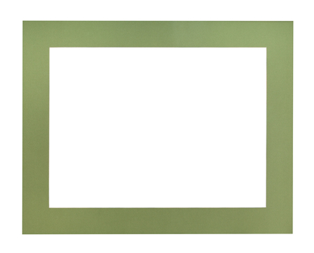 wide flat green passe-partout for picture frame with cut out canvas isolated on white background