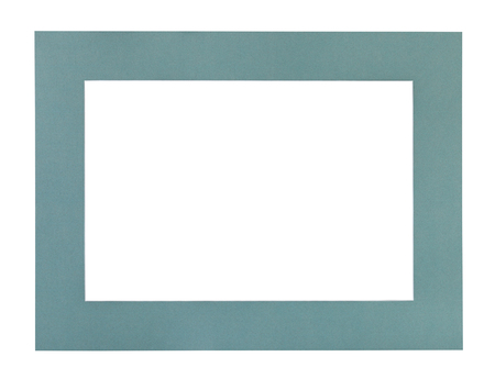 wide flat green blue passe-partout for picture frame with cut out canvas isolated on white background