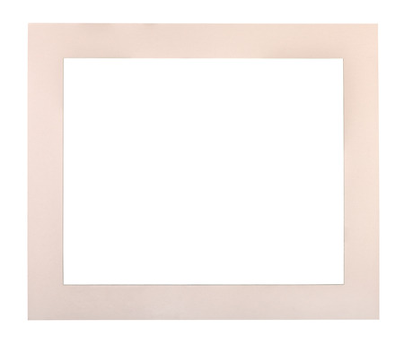 wide flat cream colored passe-partout for picture frame with cut out canvas isolated on white background Stock Photo