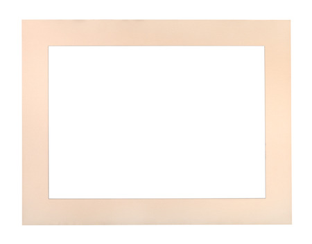wide flat pale peach colored passe-partout for picture frame with cut out canvas isolated on white background