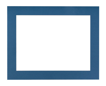 wide flat dark blue passe-partout for picture frame with cut out canvas isolated on white background Stock Photo