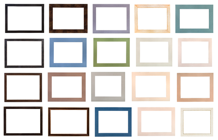 set of modern flat wooden picture frames and various passe-partout with cut out canvas isolated on white background