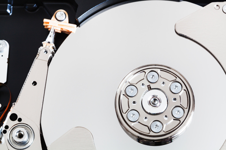 top view of open internal 3.5-inch sata hard disk drive close up