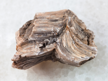 macro shooting of natural mineral rock specimen - raw baryte stone on white marble background from Irkutsk region, Russia