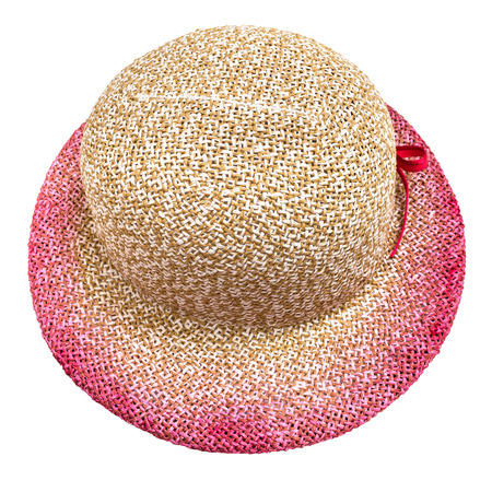 above view of straw hat with pink colored narrow brim isolated on white background
