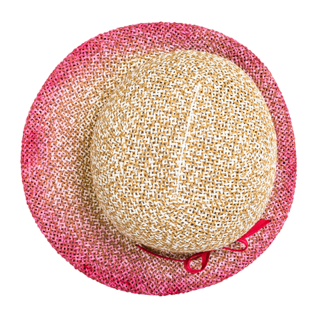 top view of straw hat with pink colored narrow brim isolated on white background