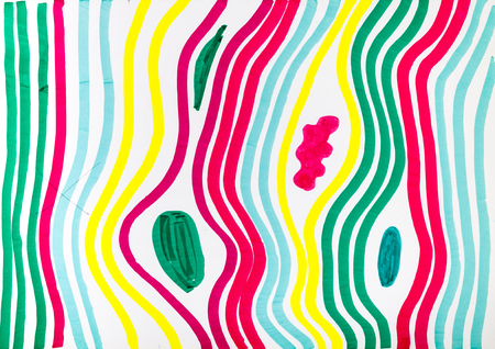 training drawing - abstract striped pattern by multicoloured felt-tip pen on white paper