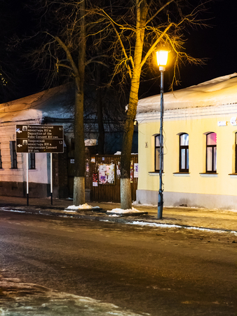 SUZDAL, RUSSIA - MARCH 9, 2018: street in Suzdal town in winter night. Suzdal is one of the oldest Russian towns, it is is the smallest of the Russian Golden Ring towns