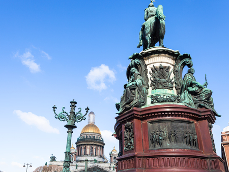 Monument to Nicholas I and dome of Saint Isaacs Cathedral Cathedral on St Isaac Square in Saint Petersburg city in March Stok Fotoğraf